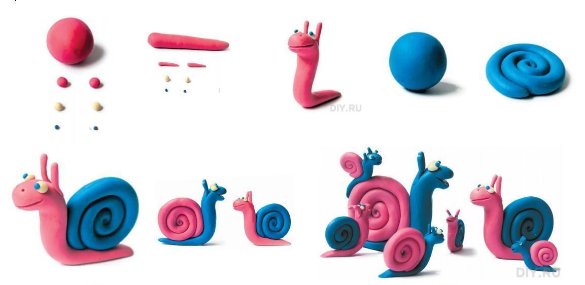 Znalezione obrazy dla zapytania: ślimak z plasteliny